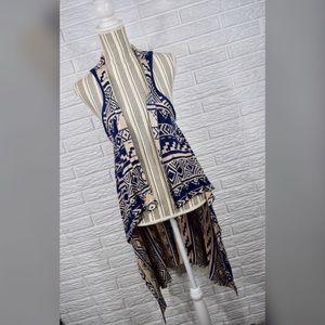 {mine} Aztec Print Open Waterfall Racerback Vest